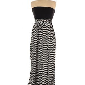 Strapless Casual Black & White Dress